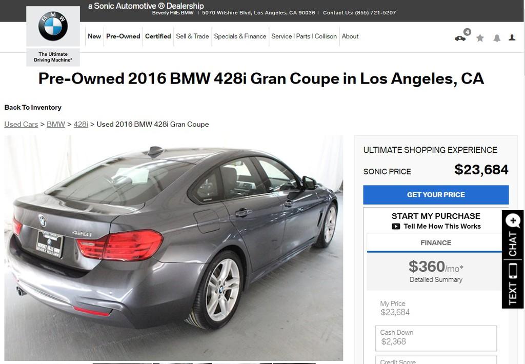 有朋友詢問Car2TW,如果在美國找到一台BMW進口車,可以麻煩Car2TW代購後運回台灣嗎?請問外匯車進口費用算法如何呢?價格划算嗎?如何從美國買車運回台灣呢?中古車出口報關流程?看看下面這台2016 BMW 428GC(428i Grand Coupe)實際代購代運回台案例分享吧-這台BMW 428i位於美國加州洛杉磯比佛利山莊BMW的原廠認證中古車CPO(Beverly Hills BMW at 5070 Wilshire Blvd Los Angeles,CA 90036)。外匯車進口費用包含美國買車價格及台灣汽車關稅,其中進口車關稅約占車輛價格60%左右,另外還有驗車費用及海運運費,Car2TW提供代辦進口車回台服務,有任何美國買車運回台灣問題歡迎詢問Car2TW