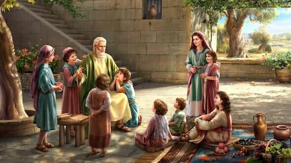 約伯年邁時向孩子見證神
