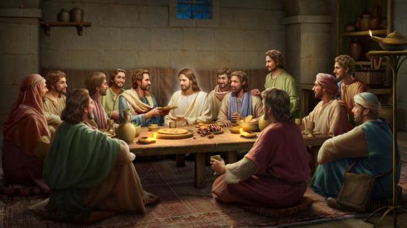 復活後的主耶穌從門徒手中接燒魚吃